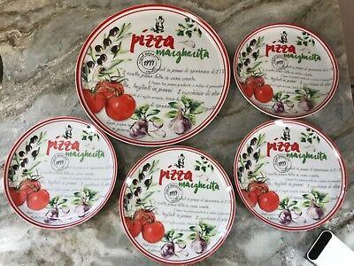 Five Piece Pizza Plate Set. Porcelain. Great Gift For The Pizza Lover. New. Five Piece Plate Setting