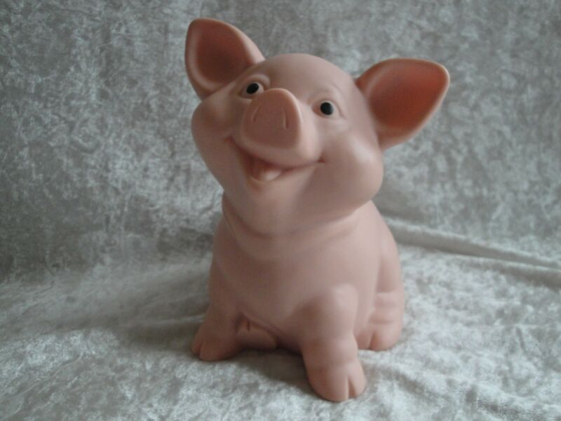 Vintage Valley Casting Hard Rubber Pink Piggy Bank With Stopper