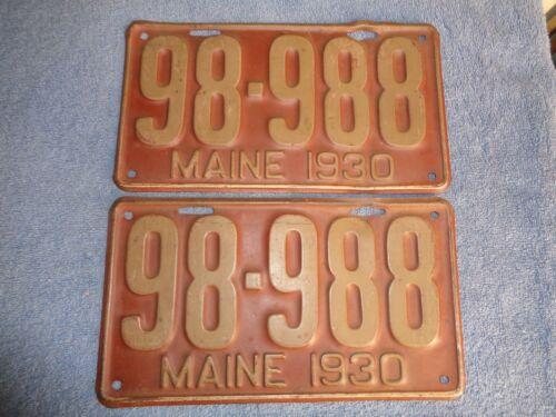 1930 U PICK ONE PAIR maine  license plate pair