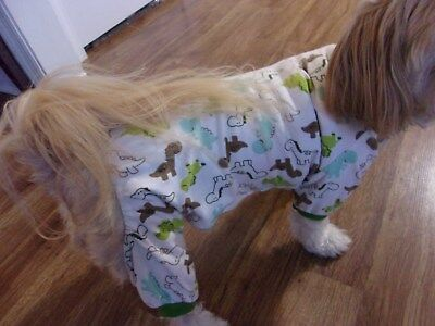 """dog pajamas, cotton,""""dinosaurs"""",Large for small breeds**(read details for size)"""