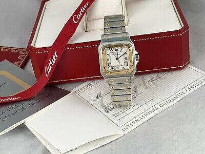 Mens Cartier Santos Solid 18K G Bezel Man Cartier watch Cartier w/Box and Card