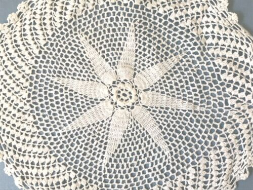 Antique Hand Crochet Crocheted Star Shaped Lace Round Doily Table Centerpiece