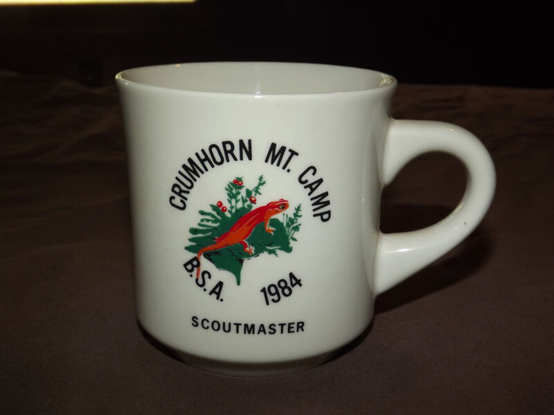 VINTAGE BSA BOY SCOUTS  COFFEE MUG 1984 CRUMHORN MT CAMP SCOUTMASTER