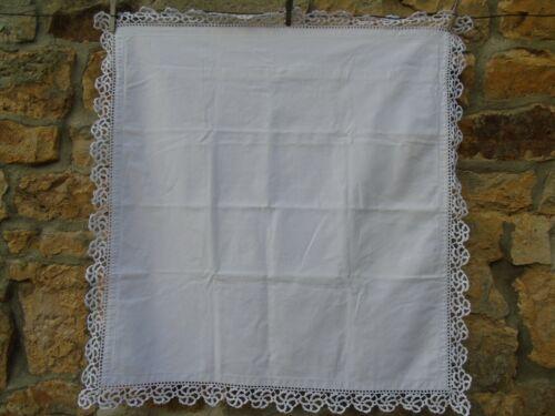 French white linen   vintage euro sham pillow case lace trim