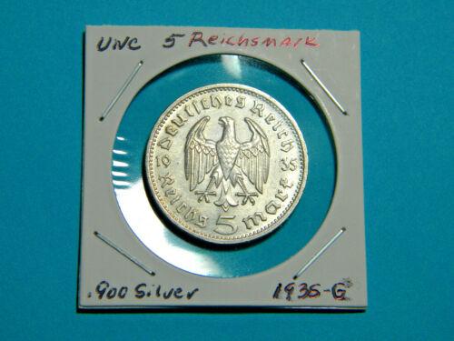 UNC WW2 Germany 🇩🇪  5 Mark Silver Coin Third Reich Reichsmark Hindenburg 1935G