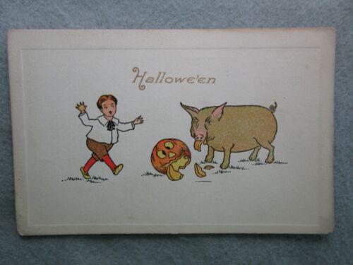 Antique Halloween, The Gibson Art Company Postcard Pig Eating Jack O Lantern