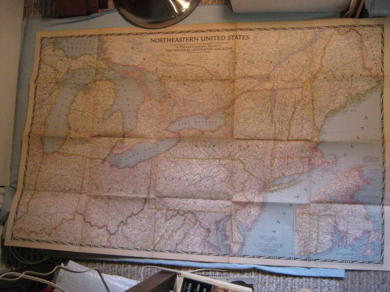 VINTAGE NORTHEASTERN UNITED STATES HUGE MAP National Geographic September 1945