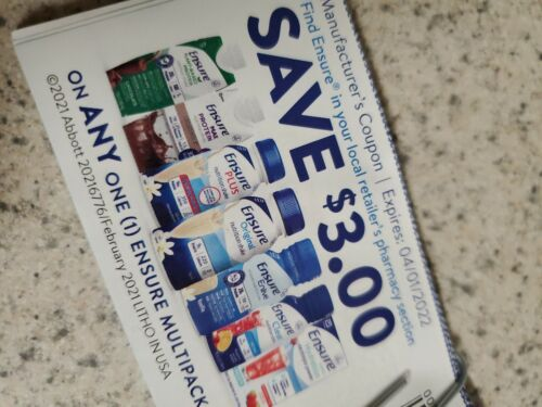 Ensure Coupons 3.00 Off Multipacks Coupons Value 100 Exp 04/2022 - $5.99