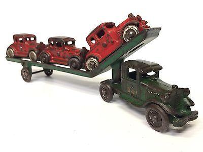VINTAGE AC WILLIAMS MACK CAR CARRIER +3 FORD CARS ORIG CAST-IRON ARCADE HAULER