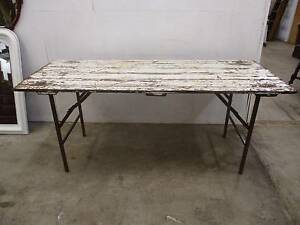 C34107 Terrific Vintage Timber White Trestle Dining Table CAFE Unley Unley Area Preview