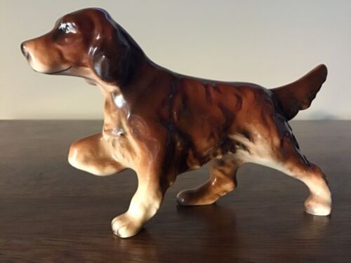 "Beautiful Vintage 5"" Ceramic Pointing IRISH SETTER Hunting DOG Figurine"