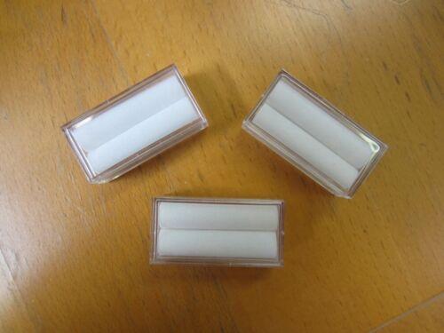 "10pcs Acrylic Rectangle Gem Jars Box Gemstones White Foam 1"" x 2"" Gems Coins"
