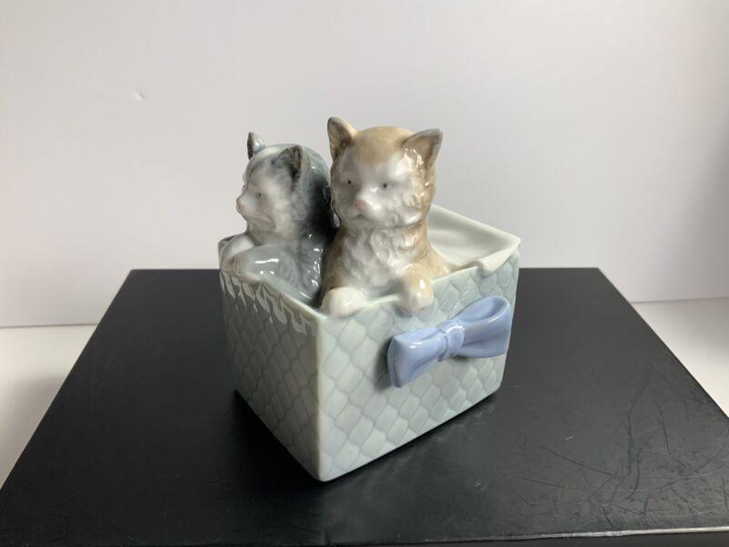 Vintage NAO By LLADRO DAISA Kittens in Basket Figurine Made In Spain 1988