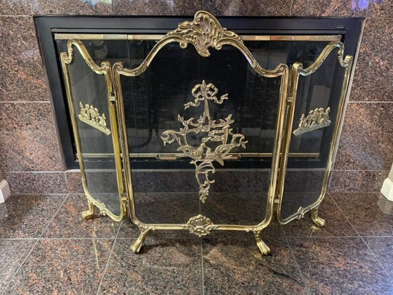 Vintage French Provincial Ornate Gold solid Brass Fireplace Folding Screen