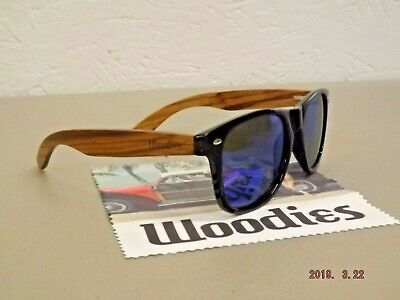 New WOODIES Zebra Wood Polarized Sunglasses w/ Blue Mirror (Blue Lens Sunglasses Polarized)