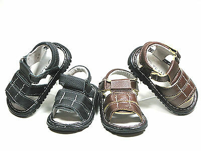 Toddler Boys Genuine Leather Sandals Two Colors Brown - Black  Sz  2-9