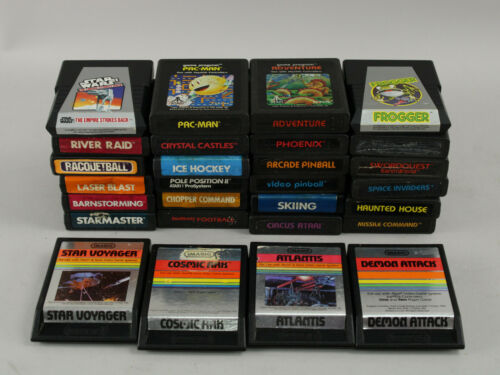 Lot of 28 Different Atari 2600 Games - Adventure, Pac-Man, Star Wars ESB & More!