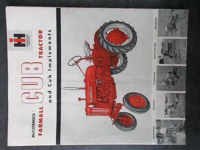 Farmall Ih Cub Tractor And Cub Implements Literature