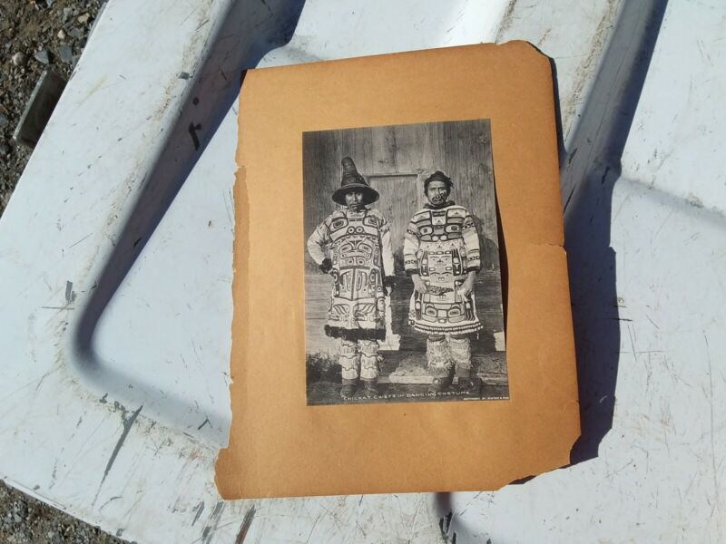Antique Photograph Native American Chilkat Chiefs Alaska Inuit? Indian Paper Eph