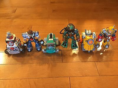 Rescue Heroes — 3 WORKING ROBOTS & 3 ACTION FIGURES — RARE!!!