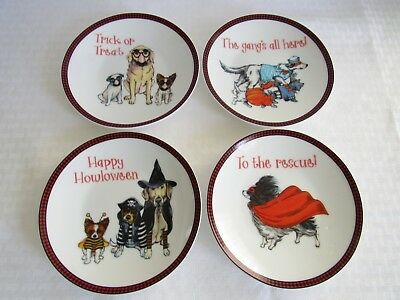 Set of 4 Pier 1 Imports Halloween Dog Dessert Appetizer Plates 6