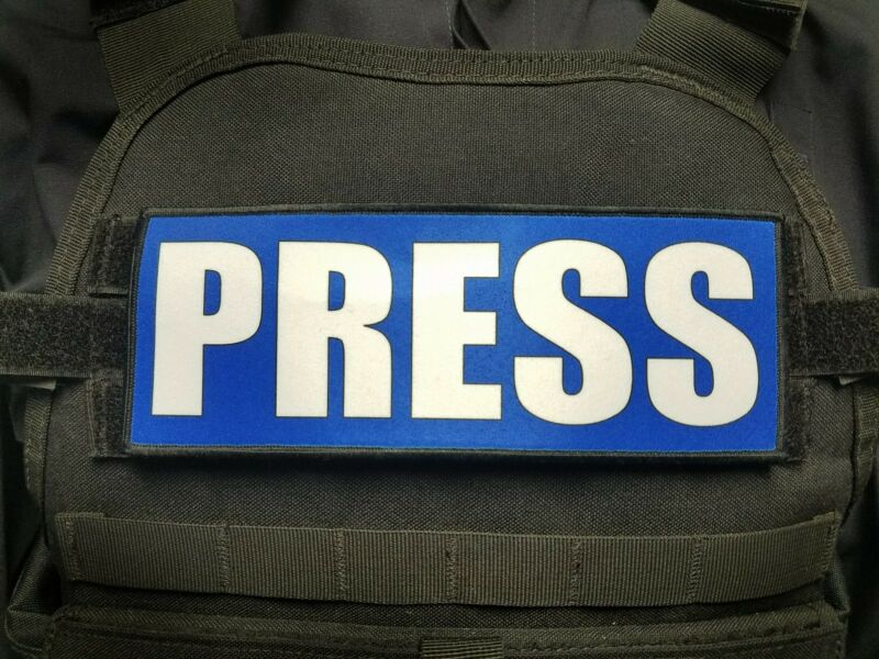 """3x8"""" PRESS Blue Plate Carrier Patch Photojournalist Journalist Reporter"""