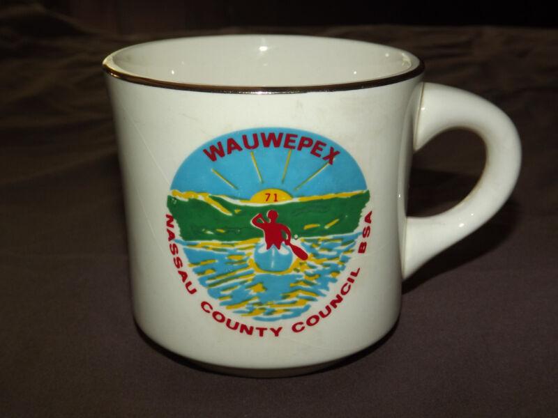 VINTAGE BSA BOY SCOUTS COFFEE MUG 1971 WAUWEPEX NASSAU COUNTY COUNCIL
