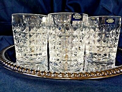 Crystal Set of 6 Rocks Glass Whiskey Cognac Vodka Tumbler 8 oz / 250ml Bohemia