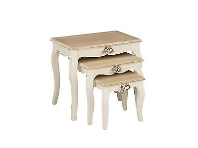 Shabby Chic Cream Nest Of 3 Coffee Tables Wooden Side End Lamp Nesting ASSEMBLED