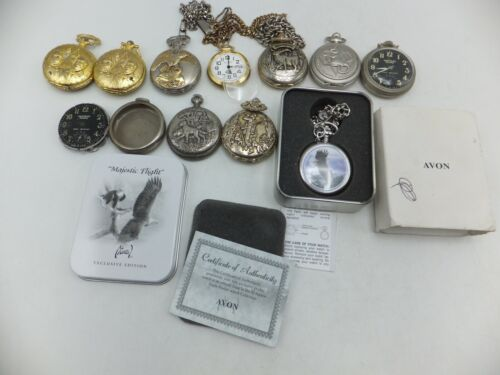 Lot Of 11 Westclox, Cenova, Remington, Avon Pocket Watches - Sold As-Is