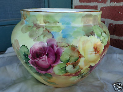 ANTIQUE VICTORIAN FRENCH PORCELAIN HAND PAINTED FLORAL PINK ROSES JARDINIERE