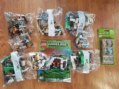 New Lot Lego Minecraft Waterfall Base 21134  No Box    853610 Skin Pack Minifigs