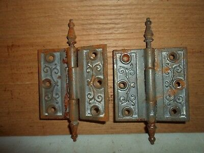 antique cast iron steeple hinges, Eastlake  / Victorian period # 7
