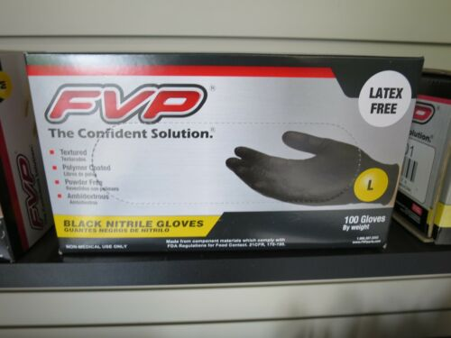 FVP Black Nitrile Gloves Large Latex Free Textures Polymer Coated Powder Free