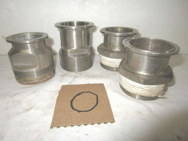 Lot of four misc. 2 inch male NPT thread Type 316L St. Steel pipe/hose fittings