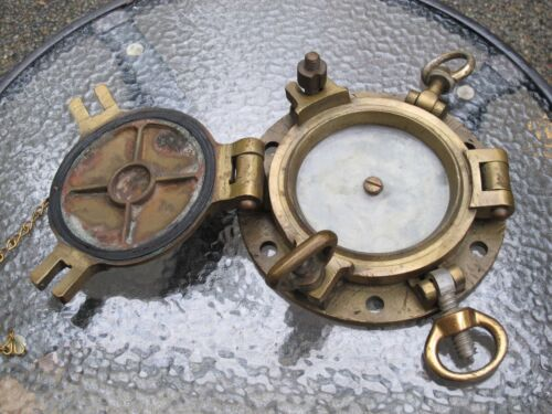Antique Bronze / Brass Ship Porthole with Storm Cover - Marked w/ 11