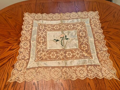 """Antique Silk Hand Embroidered Filet Lace Work Floral Tablecloth 32""""x29""""Delicate"""