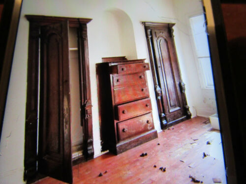 ~ ANTIQUE CARVED WALNUT CLOSET FRONT ~ BUILT IN ARMOIRE ~ ARCHITECTURAL SALVAGE
