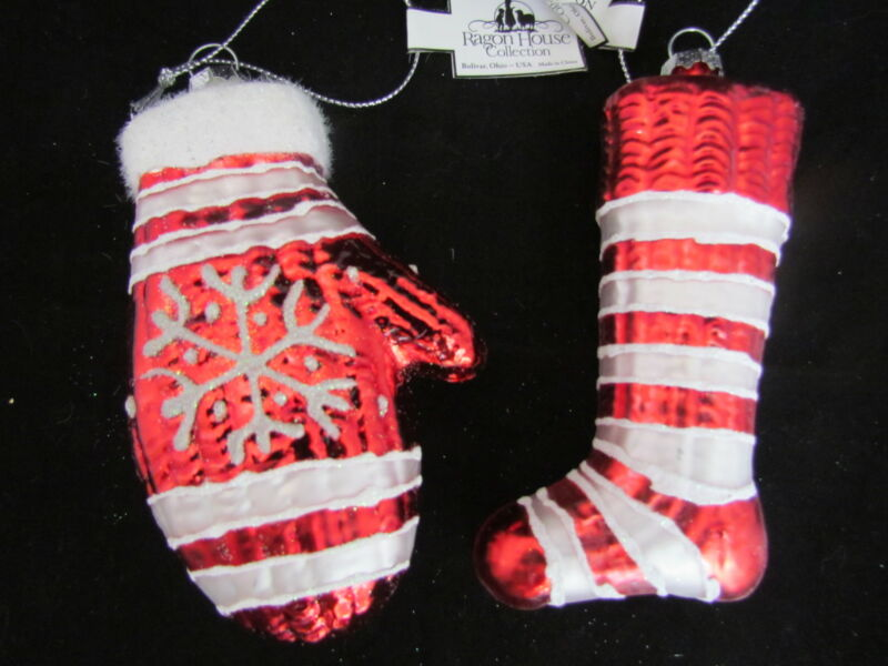 Vintage Style Glass Stocking & Mitten Christmas Ornament Ragon House 2pc NEW
