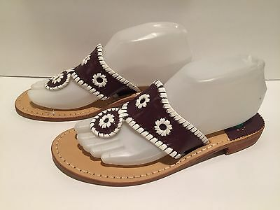 Jack Rogers Navajo Sandals Flat Flip Flop Leather Purple White 8 M