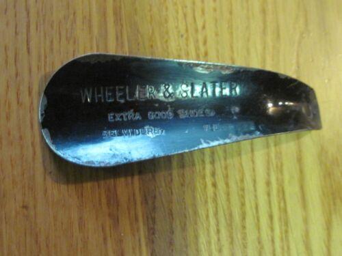 ANTIQUE VTG WHEELER & SLATER BELVIDERE IL BLACK METAL SHOEHORN EXTRA GOOD SHOES
