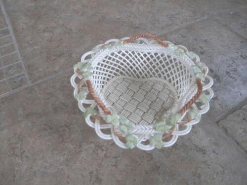 Belleek Ireland Handled Woven Porcelain Basket w/ Green Clovers
