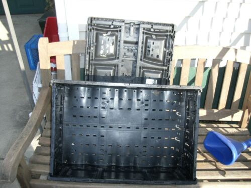Four COLLAPSIBLE CRATES IFCO 6416-6416LL BLACK SPACE SAVERS FRUIT TOOLS CRAFTS
