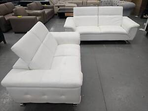 Neptune White Leather Sofa pair. E.O.F.Y sale $1199 Eumemmerring Casey Area Preview