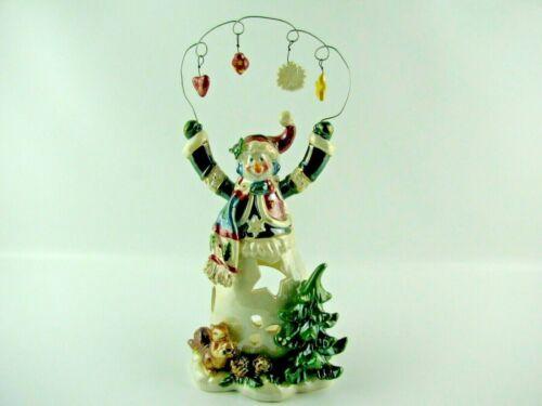 "VINTAGE Ceramic ""LOOP CHRISTMAS WONDER SNOWMAN""  Votive Tea Light Candle Holder"
