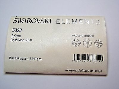 SWAROVSKI CRYSTAL BEADS #5328 2.5mm BICONE - LIGHT ROSE - 10 GROSS PACKAGE  2.5 Mm Bicone Beads