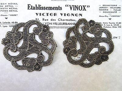 2 Vintage Antique Silver Metallic Thread Flower Applique Unused Lampshade Pillow