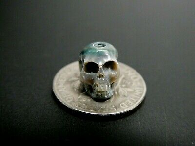 Skull Bead Rare Intricate Detail Hand Carved Blue Genuine Pearl Large Hole Bead