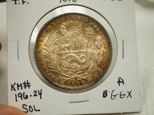 1891 TF  PERU 1 SOL Seated Liberty Silver KM#196.24 # F33