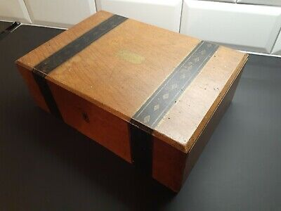 "Antique Vintage Travel Writing Slope Box 12""x9""x6"